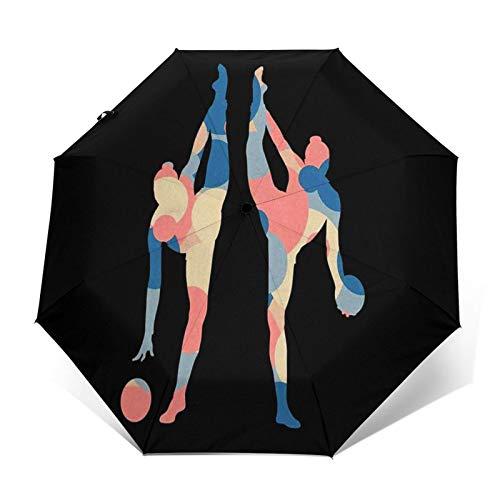 Parapluie Pliant, Parapluie Pliable Automatique Ouverture et Fermeture Résistant à Tempête Compact Léger Parapluie De Voyage pour Homme et Femme Ballon Gymnaste Femmes