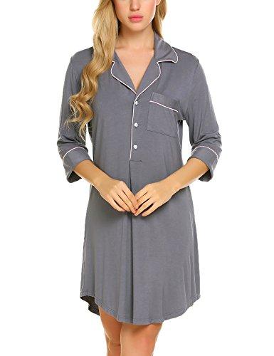 ADOME Damen T-Shirt Kleid Langarm Stretch Schlafshirt 1/2 Arm Nachtwäsche, Gr.-EU 42(Herstellergröße: XXL), Grau 279