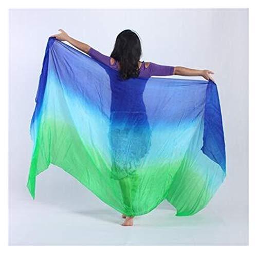 Huiyue Silk Belly Dance Silk Veil Tiro de Mano Bufanda Shaw Shawl Degradado 200 cm 250cm 270cm 300cm Faldas (Color : Yellow, Size : 300X114CM)
