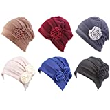Kingrol 6 Pack Flower Head Wrap Beanies Hat, Stretch Casual Turbans Fashion Slouchy Hat Sleep Caps Chemo Hat Caps for Women
