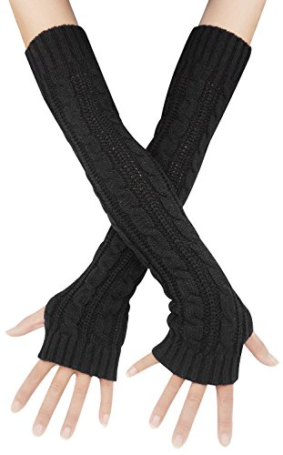 Womens Lady's Long Sleeve Fingerless Arm Warmers Gloves, One Size Black
