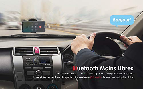 ieGeek Autoradio Bluetooth Main Libre, Double Affichage LCD avec Horloge, Supporte FM/AM/RDS...