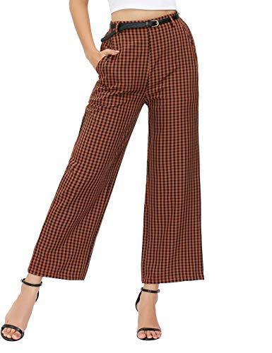 Women Plaid Casual Pants Elastic Waist Wide Leg Trouser Pants with Pockets (Gingham, S)