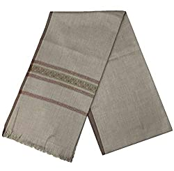 Generic Mens Kashmiri Woollen Embellished Bordered Shawl/Lohi (vch4848, Grey, Free Size