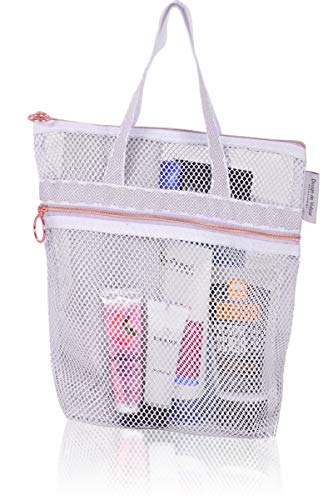 Mesh Shower Caddy - Quick Dry Tote Bag with Zipper & Pocket for Loofah. Portable Lightweight Hanging Toiletry and Bath Organizer. Essential for College Dorm, Gym, Beach, Travel or Camping (Orchid)