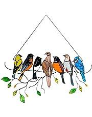 Lente Vogels Gebrandschilderd Glas Raamdecoratie Kamer Decor, Woondecoratie Cadeau Voor Moeder En Zus,Glas Decoratie van Metaal (7 Vogels)