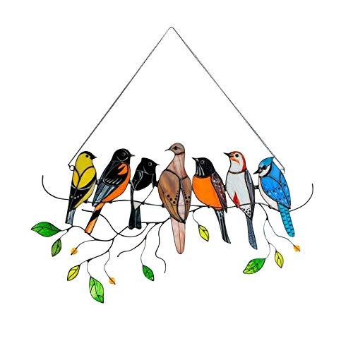 Hanomes Glasmalerei Vogel,glasvögel Ornamente Hängen,buntglas Fensterbild,fensterdeko Eule Hängend,vÖgel Glasmalerei Fensterscheide Vogel Dekoration Memorial Handwerksgeschenke Dekoartikel