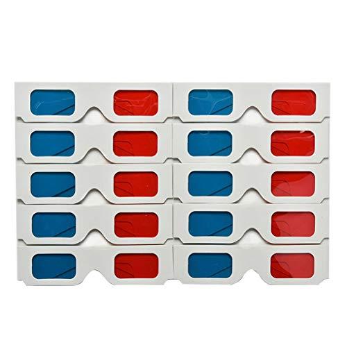 Arichtop 10 unids/Set Papel Universal Anaglifo Gafas 3D Cartón Rojo Azul Gafas...