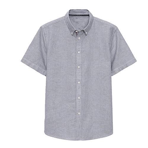 N\P Camisa de manga corta para hombre, de algodón, de media manga, para verano gris XXL