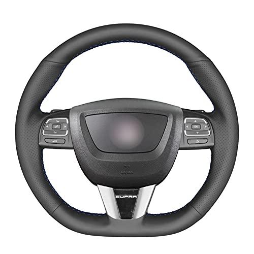 NUIOsdz Funda para volante de coche de piel sintética cosida a mano, apta para asiento Leon (Cupra) MK2 1P 2009-2012