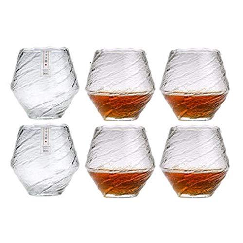 TingLiao Japan EDO Blowing Schnee Kunstwerk Whisky Ordentlich Glas Holz Geschenkkarton Nische Liquor XO Whiskey Kristallweinglas Cognac Cognacglas (Farbe : 6 Pcs)