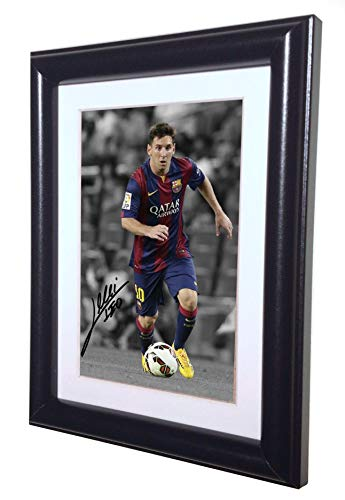 Signed Black Soccer Lionel Messi Barcelona Autographed Photo Photograph Picture Frame Gift SM