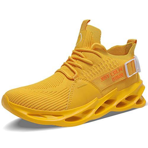MAYZERO Zapatillas de deporte para hombre Blade para correr, tenis deportivo, zapatos atléticos, de moda, para entrenamiento y caminar, Amarillo, 9 US