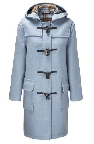 Original Montgomery Dufflecoat Damen mit Büffelhorn Knebeln, Größe EU 42 / Herstellergröße 14 (UK 38), Baby Blau