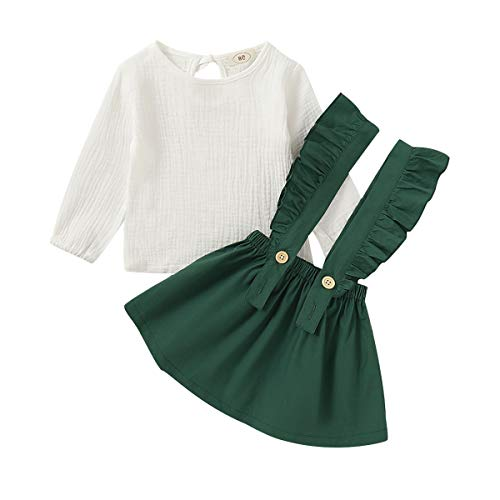 Toddler Baby Girl Linen Suspender Skirt Set Long Sleeve Shirts Ruffled Dress Clothes (Green, 4-5 Years)