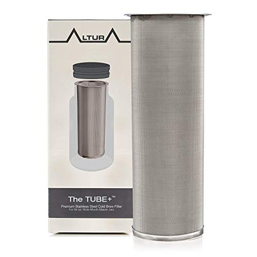 The TUBE+: Cold Brew Coffee Maker and Tea Infuser Kit. Premium Stainless Steel Mesh Filter Designed to Fit 64 Oz. Wide Mouth Ball Mason Jar . Brew Guide and Recipe eBook Included