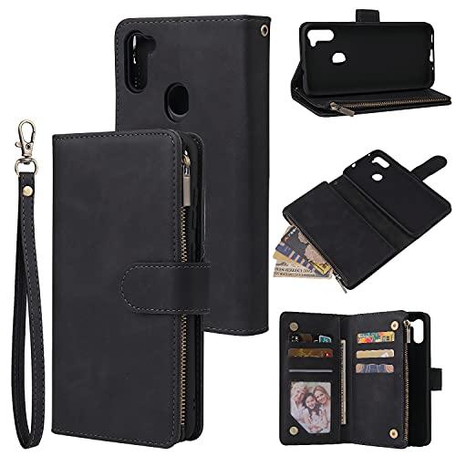 Cubierta de la caja del tirón del teléfono Funda de billetera para Samsung Galaxy A11, con cremallera de cuero PU suave premium Flip Folio Folio Wallet con tarjeta de muñeca Caja protectora de Samsung