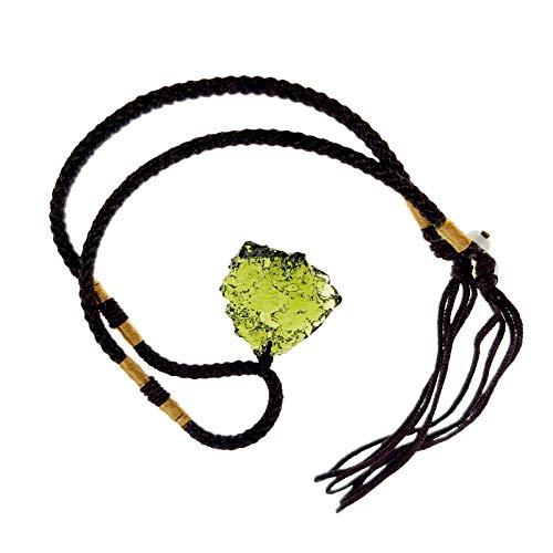 Beafeimei Moldavite Crystal Necklace,Irregular Natural Stone Gemstone Crystal Pendant Jewelry Necklace Energy Stone Dainty Gift for Women Girls (5-10g)