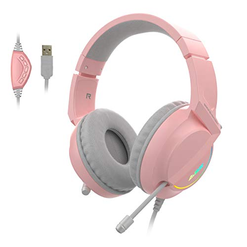 Ajazz AX365 - Auriculares estéreo para videojuegos, 7.1 canales, USB con cancelación de ruido, con micrófono, luz LED, orejeras de memoria suave, color rosa
