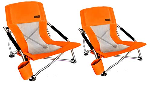 Nice C Low Beach Camping Folding Chair, Ultralight Backpacking Chair with Cup Holder & Carry Bag Compact & Heavy Duty Outdoor, Camping, BBQ, Beach, Travel, Picnic, Festival (Set of 2 Orange)