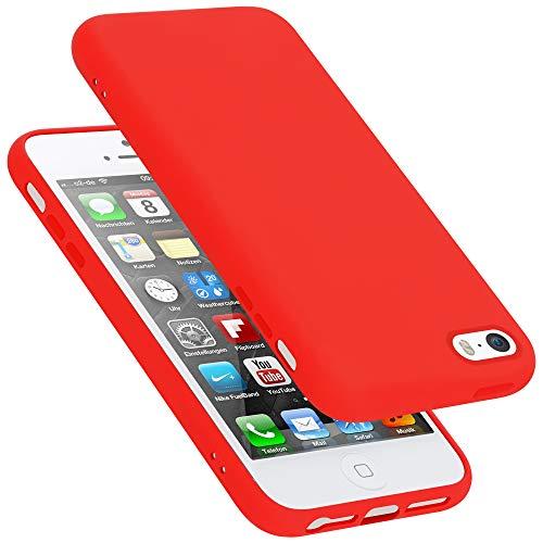Cadorabo Custodia per Apple iPhone 5 in LIQUID ROSSO - Morbida Cover Protettiva Sottile di Silicone TPU con Bordo Protezione - Ultra Slim Case Antiurto Gel Back Bumper Guscio