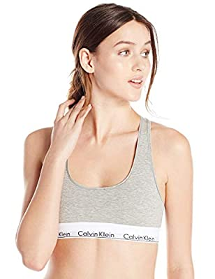 Calvin Klein Women's Regular Modern Cotton Bralette, Grey Heather, XL