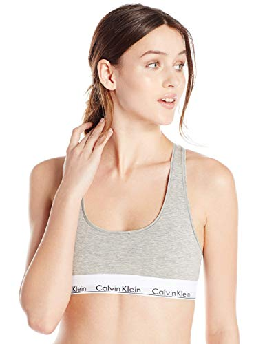 Calvin Klein Women's Regular Modern Cotton Bralette, Grey Heather, Medium