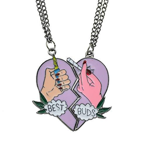 Feelontop Black Tone Chain Women Hands Lighter Cigarette Heart Pendant Necklace 2 pcs/Set with Jewelry Pouch