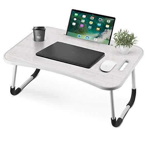 VANSPACE - Mesa de cama plegable para el regazo, portátil, bandeja de desayuno, pequeña mesa de dormitorio con ranura para tazas, soporte para lectura y asa para sofá, cama, terraza, balcón