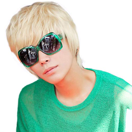 Cool Mens Short Straight Platinum Blonde Wigs Male Boys Party Cosplay Full Wig