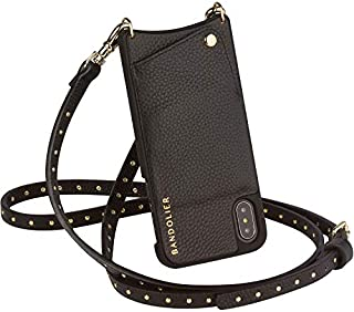 Bandolier Nicole Crossbody Phone Case and Wallet - Black Leather with Gold Detail - Compatible with iPhone 8, 7, 6 Only