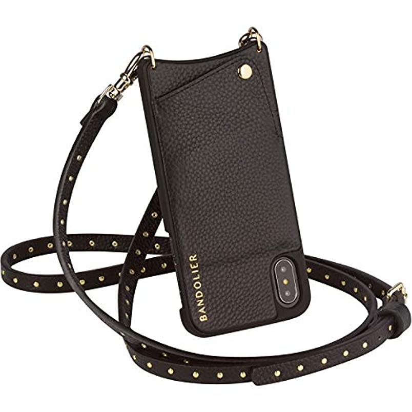 Bandolier [Nicole] Crossbody Phone Case and Wallet - Compatible with iPhone 8, 7, 6 - Black Pebble Leather with Gold Detail nk635515372