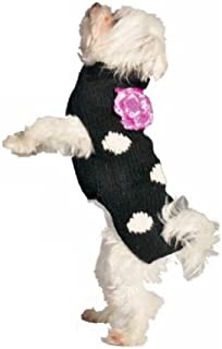 Chilly Dog Black Polka Dot Flower Dog Sweater, Small