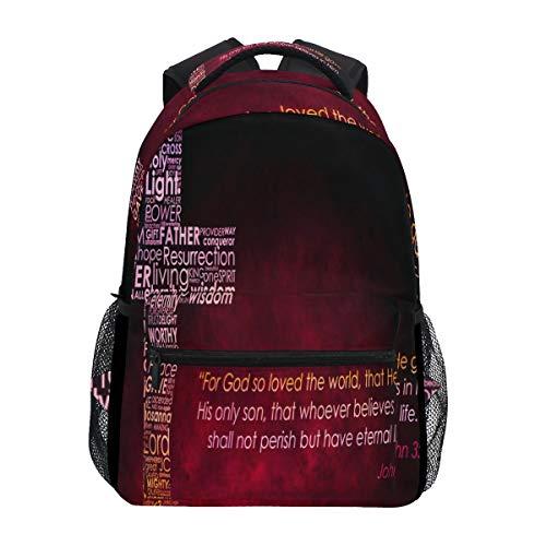 Jojogood Jesus Christ Christian Cross Pattern School Bookbags Shoulder Laptop Daypack College Bag for Student Travel Backpack