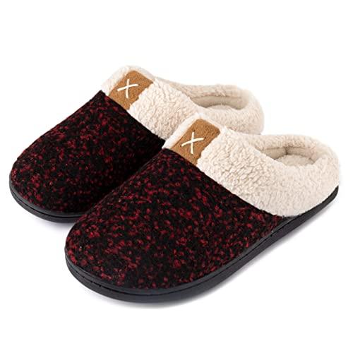 ULTRAIDEAS Women's Cozy Memory Foam Slippers Fuzzy Wool-Like Plush Fleece Lined House Shoes w/Indoor, Outdoor Rubber Sole (9-10, Ruby Red)