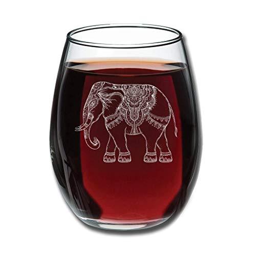 CATNEZA Libbey Wijnglas - Olifant Gegraveerd Tumbler Idee voor Thuis Gift 12 ounce