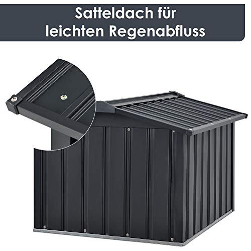 Juskys Metall Mähroboter Garage mit Satteldach - 5