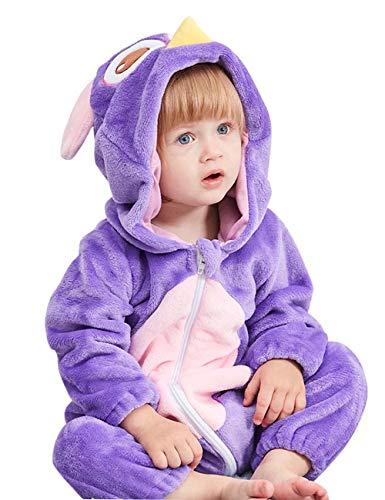 Happy Cherry Baby Tier-Overall Warmer Pyjama Spielanzug Flanell Babykostüm für Fasching Halloween Weihnachten Party - Eule Größe 70
