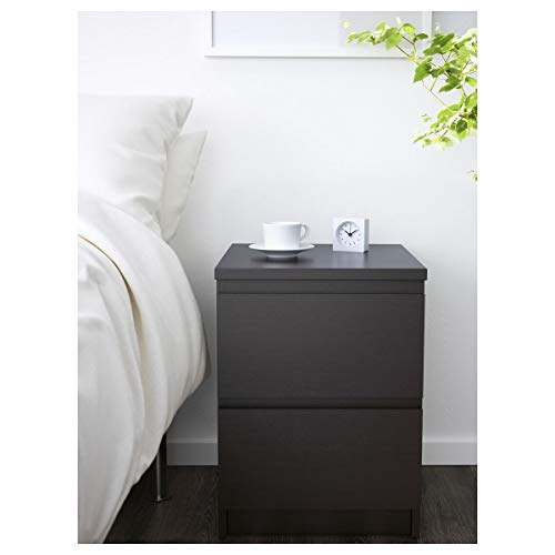 IKEA MALM 'Ladekast/nachttafel met 2 lades met verlengslot zwart/bruin