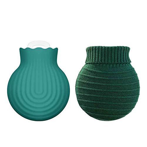HIOD Botella de Agua Caliente de Silicona Funda de Punto Bolsos Calentadores de Manos para Bebés y Niños La Seguridad Ambiental (S 250ml / L 550ml),Green-S