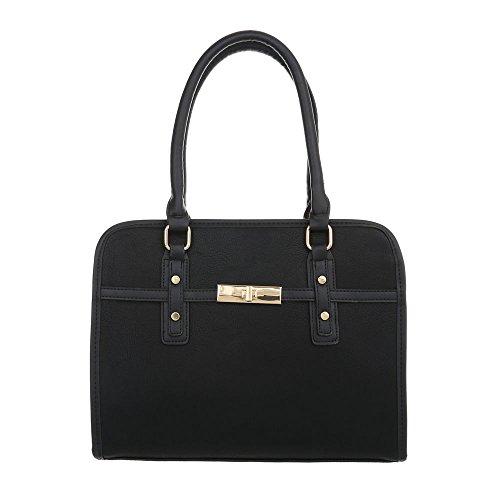 Ital-Design Damen-Tasche Mittelgroße Schultertasche Handtasche Kunstleder Schwarz TA-K685
