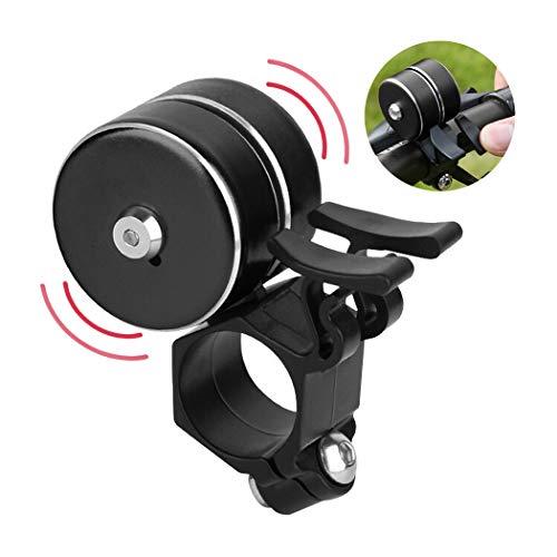 Novpeak Bike Bell, Q - Shaped Double Ring Loud Horn Aluminum Alloy Bike Bell Alarm Ring for Mountain Bike and Road Bike Suitable for Caliber 22.2mm - 25mm Handlebar