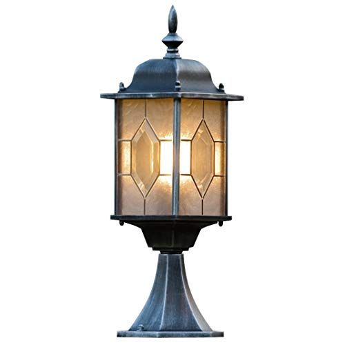 Konstsmide Milano 7246-759 Sokkellamp/B: 16cm D: 16cm H: 51cm / 1x75W / IP43 / gelakt aluminium/zwart/zilver