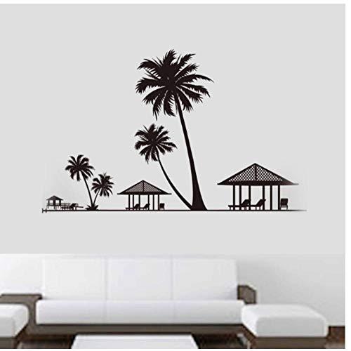 AnnQing Holiday Beach Palms Kokosnoot Boom Muurstickers Parlor Woonkamer Slaapkamer Huis Decor Paviljoen Stoelen muursticker Poster 60x90cm