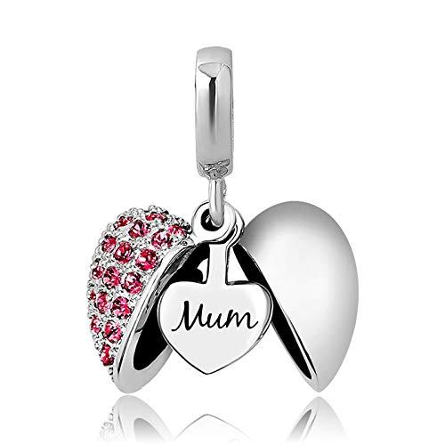 KunBead Heart I Love You Mum Daughter Angel Dangle Anniversary Crystal Bead Charms for Bracelets for Women