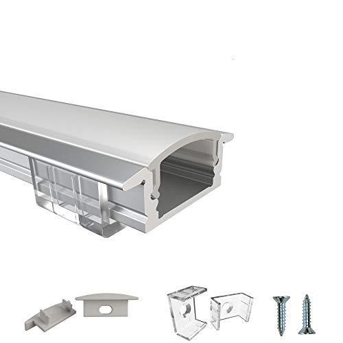 Rabando Juego de 5 perfiles de aluminio para LED de 12 mm con cubierta de ópalo – 5 m