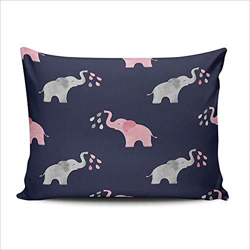 DKISEE Lumbar Pillowcases Home Decor Cute Watercolor Elephants Pillowcase Soft Zippered Throw Pillow Cover Cushion Case Double Sized Printed 20x30 inches