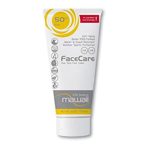 mawaiiFaceCare SPF 50 - wasserfeste und schweissresistente Sonnencreme für das Gesicht, reef-friendly, ideal für Wassersport und Outdoor-Sport, Anti-Aging Sonnenschutz, ohne Parabene (1 x 75ml)