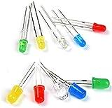 Mufee 300 piezas F3/F5LED luz emisor de diodo caja 3MM cada 40 piezas 5MM cada 20 rojo, verde, azul, amarillo y blanco