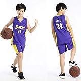 anking Kids Basketball Jerseys Set - NBA Los Angeles Lakers #24 Kobe Bryant Basketball Uniform Summer Shirt Vest Top Shorts for Boys and Girls,Púrpura,2XL